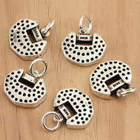 Thailand Sterling Silver Pendants, Lock, hollow, 14x17x3.30mm, Hole:Approx 3.5mm, 3PCs/Bag, Sold By Bag