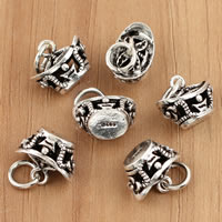 Thailand Sterling Silver Pendants, Ingot, hollow, 11x13.60x7.80mm, Hole:Approx 3.5mm, 5PCs/Bag, Sold By Bag