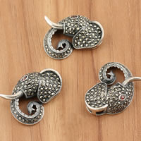 Thailand Sterling Silver Pendants, Elephant, with rhinestone, 24x17x6mm, Hole:Approx 2mm, 3PCs/Bag, Sold By Bag