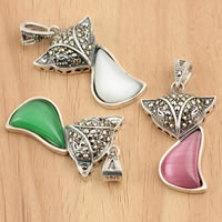Thailand Sterling Silver Pendants, with Cats Eye, Fox, with rhinestone, mixed colors, 17x33x6.50mm, Hole:Approx 3mm, Sold By PC