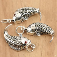 Thailand Sterling Silver Pendants, Fish, with rhinestone & hollow, 13x28.60x6.50mm, Hole:Approx 4mm, 2PCs/Bag, Sold By Bag