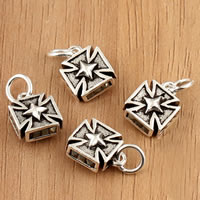 Thailand Sterling Silver Pendants, Cross, 9x16x5mm, Hole:Approx 3.5mm, 2PCs/Bag, Sold By Bag