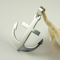 Titanium Steel Pendants, Anchor, nautical pattern, original color, 39x32mm, Hole:Approx 3mm, 50PCs/Lot, Sold By Lot