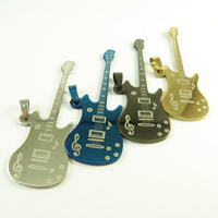 Titanium Steel Pendants, Guitar, plated, more colors for choice, 70x25mm, Hole:Approx 3mm, 35PCs/Lot, Sold By Lot