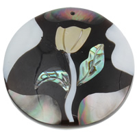 Shell Pendants, Freshwater Shell, with Yellow Shell & Abalone Shell & Resin, Flat Round, 49x49x9mm, Hole:Approx 1mm, Sold By PC