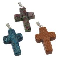 Gemstone Pendant, with iron bail, mixed, 18x33x7mm, Hole:Approx 1x5mm, 12PCs/Box, Sold By Box