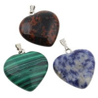 Gemstone Pendant, with iron bail, mixed, 20x28x6mm, Hole:Approx 1x5mm, 12PCs/Box, Sold By Box