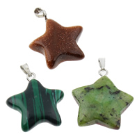Gemstone Pendant, with iron bail, mixed, 21x28x6mm, Hole:Approx 1x5mm, 12PCs/Box, 2/Lot, Sold By Box