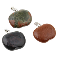 Gemstone Pendant, with iron bail, mixed, 20x25x6mm, Hole:Approx 1x5mm, 12PCs/Box, 2/Lot, Sold By Box