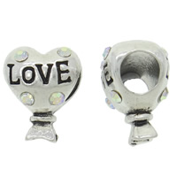 Zinc Alloy European Beads, Heart, antique silver color plated, with letter pattern & without troll & with rhinestone, more colors for choice, nickel, lead & cadmium free, 11x14x9.50mm, Hole:Approx 5mm, Sold By PC