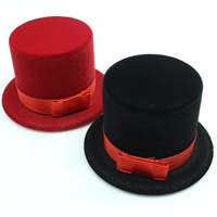 Velveteen Single Ring Box with Cardboard   Satin Ribbon Hat mixed colors 59x59x36mm 20PCs/Bag