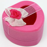 Velveteen Single Ring Box with Cardboard   Organza Heart pink 62x60x37mm 20PCs/Bag