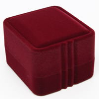Velveteen Single Ring Box with Cardboard Rectangle red 55x50x39mm 20PCs/Bag