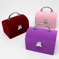 Velveteen Single Ring Box with Cardboard   Zinc Alloy Handbag mixed colors 59x39x55mm 20PCs/Bag