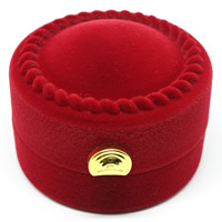 Velveteen Single Ring Box with Cardboard   Zinc Alloy Column red 54x54x40mm 20PCs/Bag