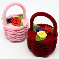 Velveteen Single Ring Box with Cardboard   Satin Ribbon Flower Basket mixed colors 60x60x80mm 20PCs/Bag