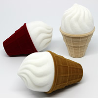 Velveteen Single Ring Box with Cardboard Ice Cream two tone mixed colors 46x46x76mm 20PCs/Bag
