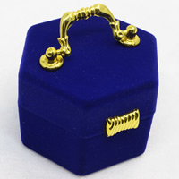 Velveteen Single Ring Box with Cardboard   Zinc Alloy Hexagon blue 65x60x45mm 20PCs/Bag