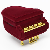 Velveteen Single Ring Box with Cardboard   Zinc Alloy Piano red 53x64x55mm 20PCs/Bag
