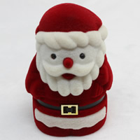 Velveteen Single Ring Box with Cardboard   Zinc Alloy Santa Claus Christmas jewelry   two tone 49x43x70mm 20PCs/Bag