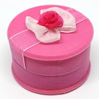 Velveteen Single Ring Box with Cardboard   Organza Column pink 58x58x35mm 50PCs/Bag