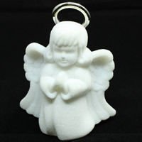 Velveteen Necklace Box, with Cardboard & Acrylic, Angel, white, 65x75x35mm, 20PCs/Bag, Sold By Bag