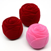 Velveteen Single Ring Box with Cardboard Rose mixed colors 50x50x50mm 20PCs/Bag
