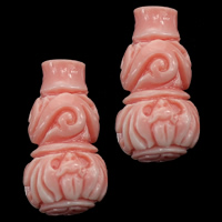 Koraliki z ogromnego małża, Rzeźbiony gigant, Tykwa, Rzeźbione, różowy, 10x19mm, otwór:około 1mm, 30komputery/wiele, sprzedane przez wiele