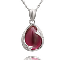 Cubic Zirconia Micro Pave Sterling Silver Pendant, 925 Sterling Silver, with Ruby, Teardrop, platinum plated, July Birthstone & micro pave cubic zirconia, 12x18mm, Hole:Approx 2-7mm, 3PCs/Bag, Sold By Bag