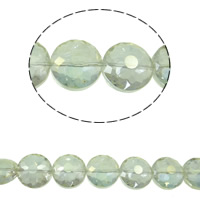 Imitation CRYSTALLIZED™ Element Crystal Beads, Flat Round, colorful plated, different size for choice & faceted & imitation CRYSTALLIZED™ element crystal, Crystal Green, Hole:Approx 1mm, Sold Per Approx 15.5 Inch Strand