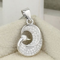 Cubic Zirconia Micro Pave Sterling Silver Pendant, 925 Sterling Silver, Bird, platinum plated, micro pave cubic zirconia, 11x17mm, Hole:Approx 2-7mm, 3PCs/Bag, Sold By Bag