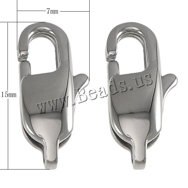 Buy 316 Stainless Steel Lobster Clasp hand polished original color 7x15x4mm Hole:Approx 1.5mm 10 Sold Lot