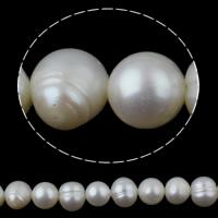 Ronde Gekweekte Zoetwater Parel kralen, natuurlijk, wit, 7-8mm, Gat:Ca 0.8mm, Per verkocht 15 inch Strand