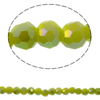 Imitation CRYSTALLIZED™ Element Crystal Beads, Round, colorful plated, different size for choice & faceted & imitation CRYSTALLIZED™ element crystal, Peridot, Hole:Approx 1mm, Sold Per Approx 15.5 Inch Strand