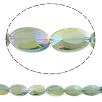 Imitation CRYSTALLIZED™ Element Crystal Beads, Oval, colorful plated, different size for choice & faceted & imitation CRYSTALLIZED™ crystal, Fern Green, Hole:Approx 1mm, Sold Per Approx 21 Inch Strand