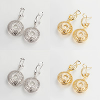 Cubic Zirconia Micro Pave Brass Earring, with Glass Pearl, Flat Round, plated, micro pave cubic zirconia & hollow, more colors for choice, nickel, lead & cadmium free, 37x21mm, 5Pairs/Lot, Sold By Lot