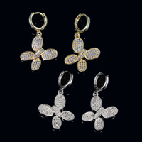 Cubic Zirconia Micro Pave Brass Earring, Butterfly, plated, micro pave cubic zirconia, more colors for choice, nickel, lead & cadmium free, 31x21mm, 5Pairs/Lot, Sold By Lot