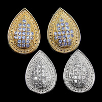 Cubic Zirconia Micro Pave Brass Earring, Teardrop, plated, micro pave cubic zirconia, more colors for choice, nickel, lead & cadmium free, 19x14mm, 3Pairs/Lot, Sold By Lot