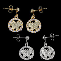 Cubic Zirconia Micro Pave Brass Earring, Flat Round, plated, micro pave cubic zirconia, more colors for choice, nickel, lead & cadmium free, 22x13mm, 5Pairs/Lot, Sold By Lot