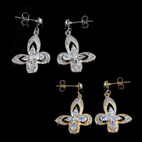 Cubic Zirconia Micro Pave Brass Earring, Butterfly, plated, micro pave cubic zirconia, more colors for choice, nickel, lead & cadmium free, 29x18mm, 5Pairs/Lot, Sold By Lot
