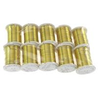Mosiężny przewód, Mosiądz, ze Szpulka plastikowa, Platerowane w kolorze złota, bez zawartości niklu, ołowiu i kadmu, 0.30mm, 10komputery/wiele, 10m/PC, sprzedane przez wiele