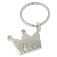 Zinc Alloy Key Chain with iron ring Crown platinum color plated with rhinestone nickel lead   cadmium free 38x44x5mm Hole:Approx 29mm Length:Approx 3 Inch 10Strands/Bag