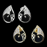 Cubic Zirconia Micro Pave Brass Earring, Teardrop, plated, micro pave cubic zirconia, more colors for choice, nickel, lead & cadmium free, 16x11mm, 10Pairs/Lot, Sold By Lot
