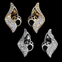 Cubic Zirconia Micro Pave Brass Earring, plated, micro pave cubic zirconia, more colors for choice, nickel, lead & cadmium free, 20x11mm, 10Pairs/Lot, Sold By Lot