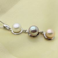 Freshwater Pearl Pendants, with Brass, Button, natural, multi-colored, 8-8.5mm, Hole:Approx 2-5mm, Sold By PC