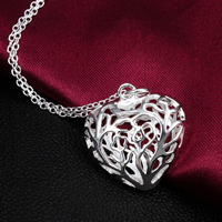 Hollow Brass Pendants, Heart, real silver plated, nickel, lead & cadmium free, 29x22mm, Hole:Approx 3mm, 50PCs/Lot, Sold By Lot