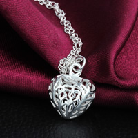 Hollow Brass Pendants, Heart, real silver plated, nickel, lead & cadmium free, 14x16mm, Hole:Approx 3mm, 100PCs/Lot, Sold By Lot