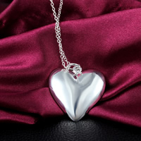 Brass Heart Pendants, real silver plated, nickel, lead & cadmium free, 35x30mm, Hole:Approx 3mm, 20PCs/Lot, Sold By Lot