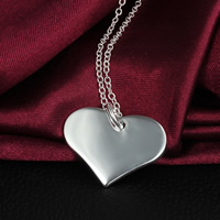 Brass Heart Pendants, real silver plated, nickel, lead & cadmium free, 22x25mm, Hole:Approx 5mm, 100PCs/Lot, Sold By Lot