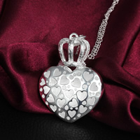 Brass Heart Pendants, real silver plated, hollow, nickel, lead & cadmium free, 47x31mm, Hole:Approx 3mm, 20PCs/Lot, Sold By Lot
